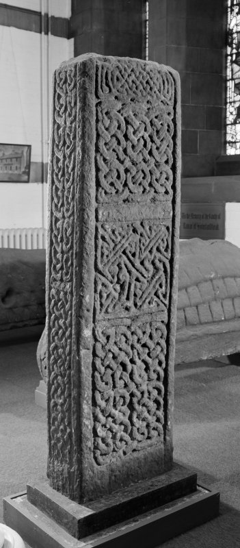 View of rear of Carved stone, Govan no.7, from Govan Old Parish Church.