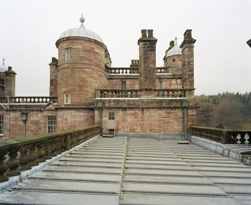 North West tower, view from roof to East.