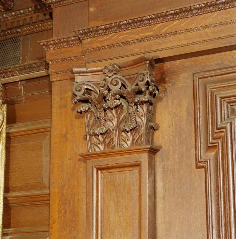 Interior, 1st. floor, drawing-room, detail of carved wooden capital.