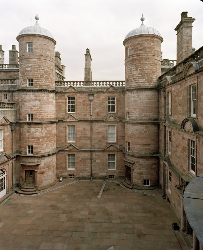 Courtyard, view of East side from 2nd. floor of castle to West.