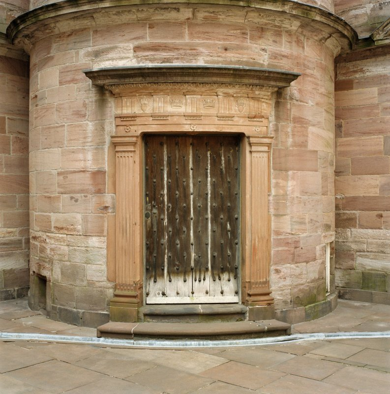 Courtyard, view of doorway to south west tower