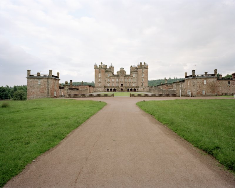 General view of castle and pavilions from drive to North.