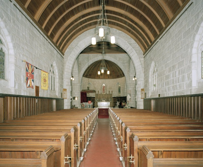 Interior view of Crathie Church from the West.