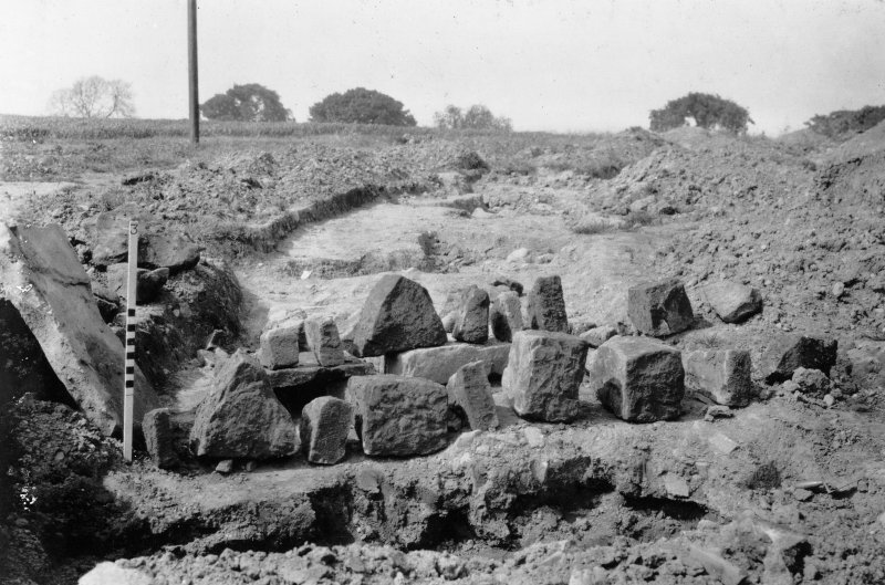 Building stones used to form sides of drain through the rampart From Photograph Album detailing excavations at Mumrills Fort