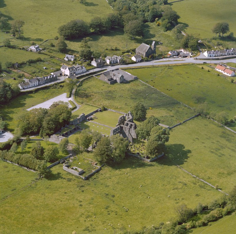 Oblique aerial view of Dundrennan Abbey