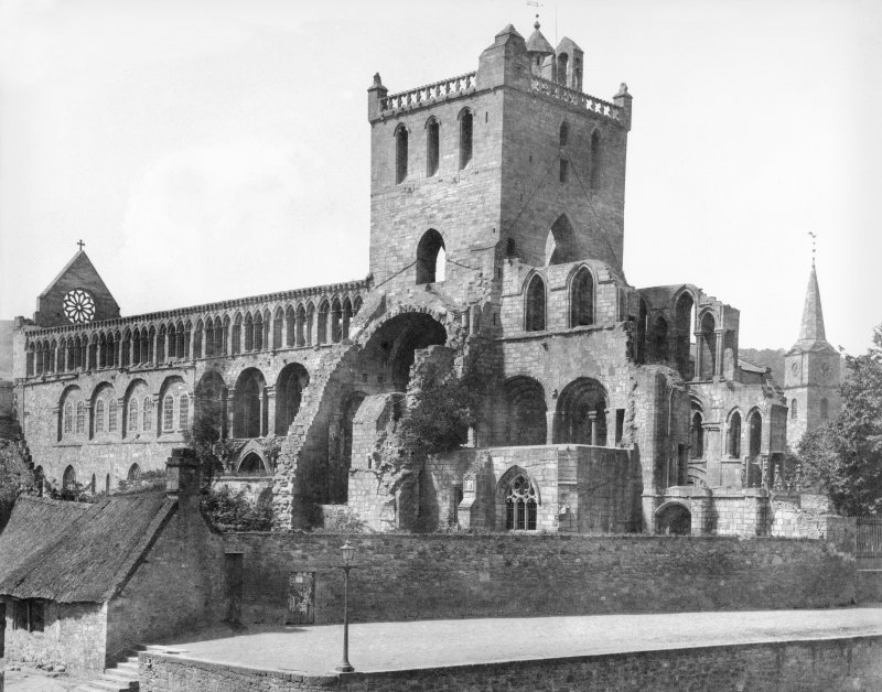 "View from SE. ""Jedburgh Abbey from the window of Mr Wilson's house, Lady Yard."""