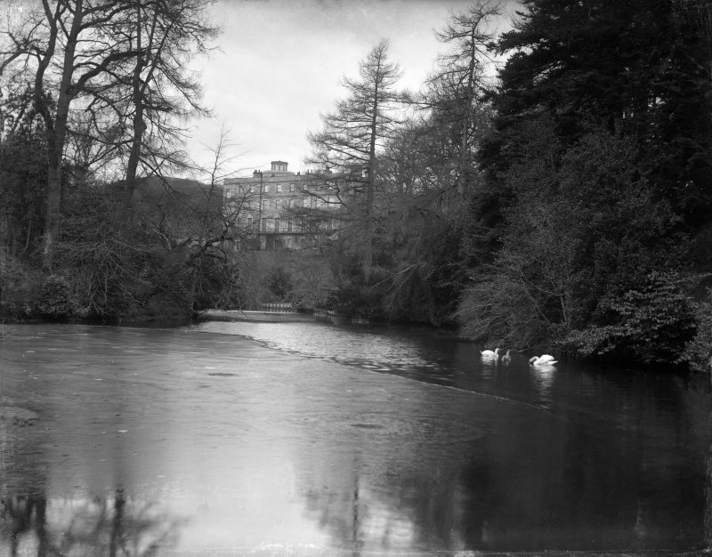 Minto House Distant view from East showing loch in Minto Glen