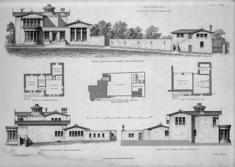 Plans and elevations. Titled: 'Holmwood, Cathcart, Renfrewshire  A&G Thomson, Architects, Glasgow  Plate LXVIII  J Sulpis Engraver  Blackie & Son, Glasgow, Edinburgh & London.'