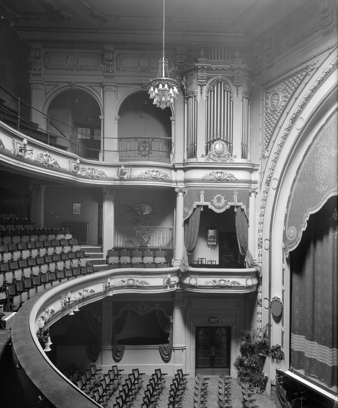 Interior, West End Playhouse, Glasgow. General view of the auditorium and stage in its heyday,  from the Dress Circle. Since demolished.