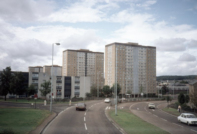 Dundee, Kirk St CDA: View from road of four 16-storey blocks.