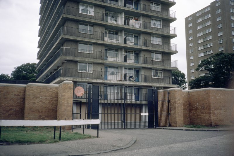 Edinburgh, Martello Court (Muirhouse Phase II): View of gated entrance to Martello Court multi-storey block.