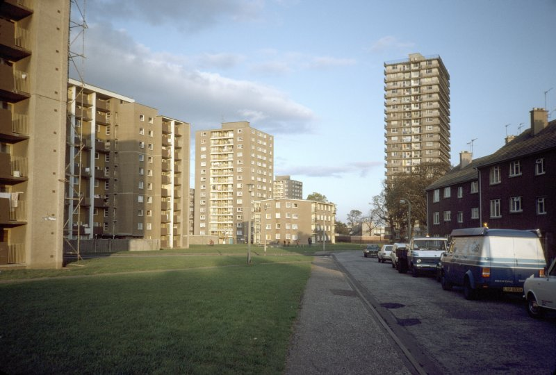 Edinburgh, Muirhouse Parkway (Muirhouse Phase II): General view from south-west of multi-storey blocks.