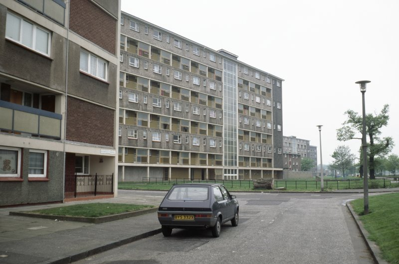 Edinburgh, Muirhouse Parkway (Muirhouse Phase 2): View from street of muli-storey blocks.