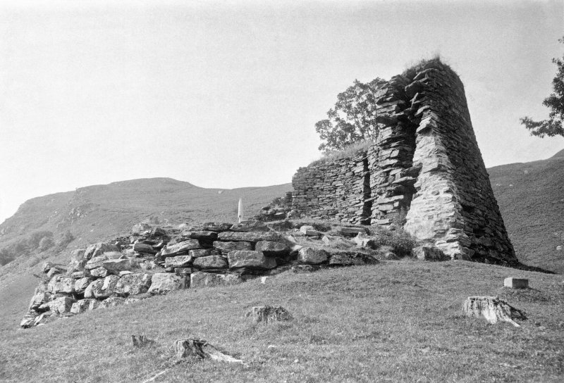 View of broch from the south. Copy of original photograph mounted on card annotated by Erskine Beveridge 'Castle Troddan, Glenelg, from S'.  From the RCAHMS Society of Antiquaries Collection (MS/28/209)
