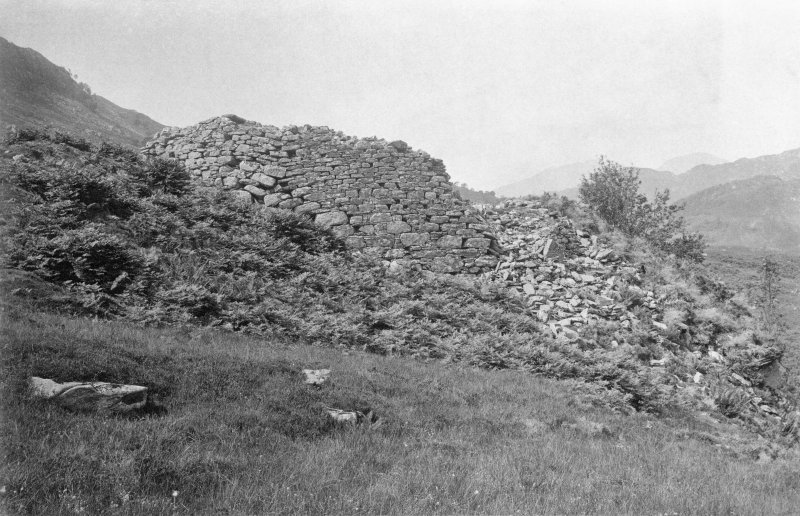 View of broch from east. Original mounted photograph annotated by Erskine Beveridge 'Castle Chornil, Glenelg, from E'.  From the RCAHMS Society of Antiquaries of Scotland Collection MS/36/209.