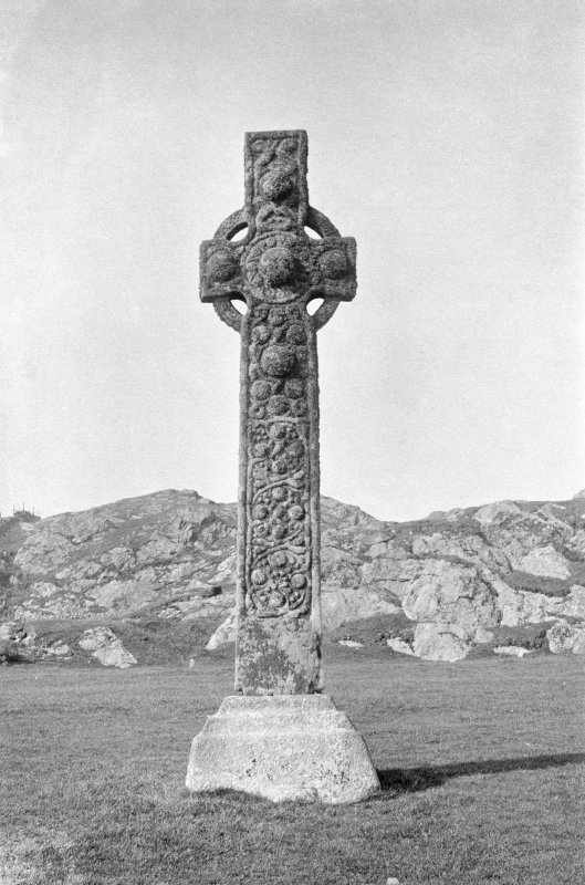 General view of East side. Original mounted photograph annotated by Erskine Beveridge ' St Martin's Cross Iona - (from east)'. From the RCAHMS Society of Antiquaries of Scotland Collection MS/36/209.