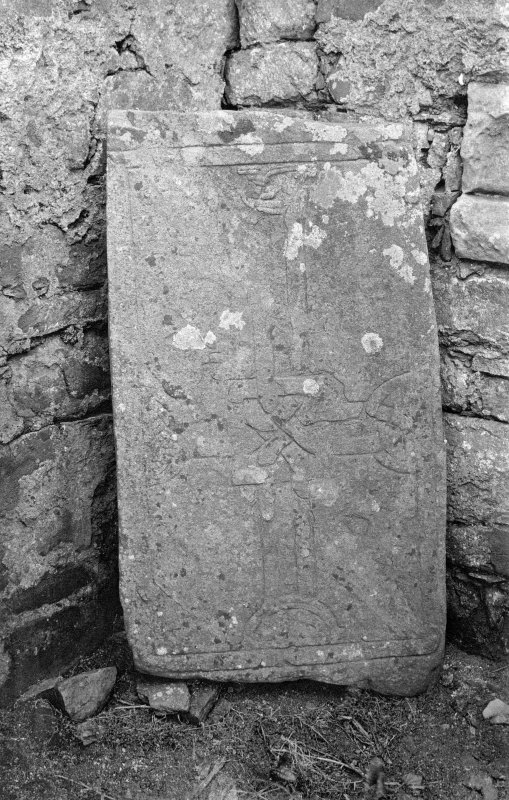 "copy of original photograph of Early Christian slab. Original mounted photograph annotated by Erskine Beveridge '""Irish Cross"" St Oran's Chapel Iona'. From RCAHMS Society of Antiquaries of Scotland Collection MS/36/209."