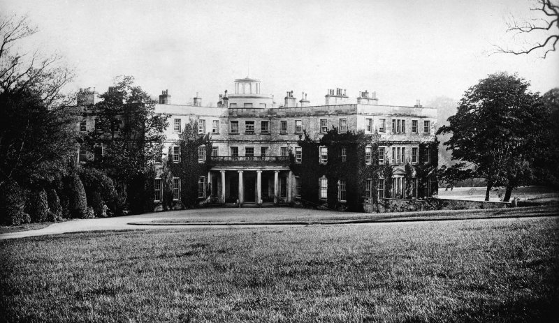 Minto House View of entrance front from SE. Titled: 'Minto House, Hawick'