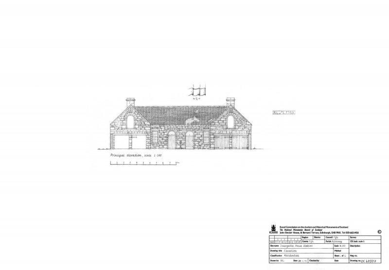 Innergellie House - Stables, elevation.