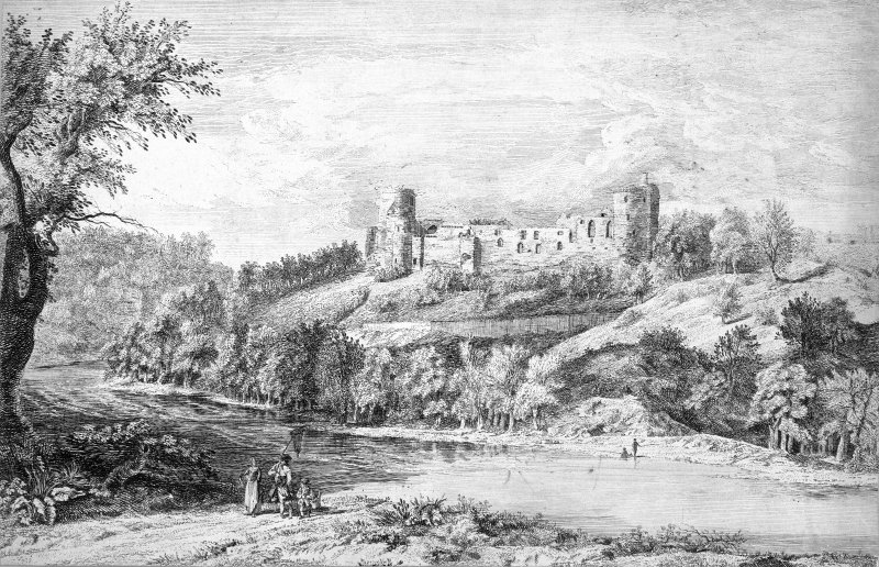 Engraving. Titled: 'South view of Bothwell Castle'.