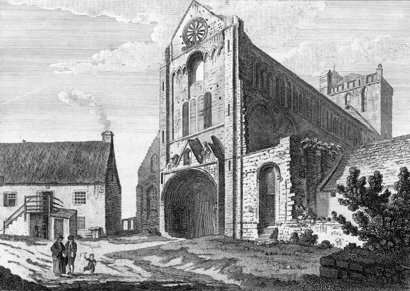 Engraving showing general view.  Titled: 'Jedburgh Abbey'.