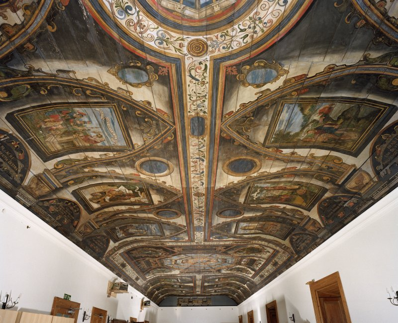 Interior. Painted gallery, general view of ceiling from south.
