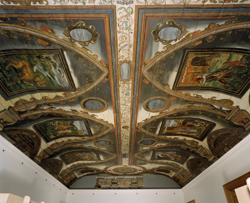 Interior. Painted gallery, view of ceiling showing painted panels at north end from south.