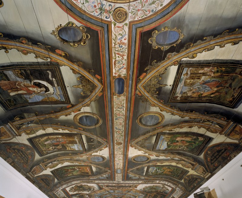 Interior. Painted gallery, view of ceiling showing painted panels at north end from north.