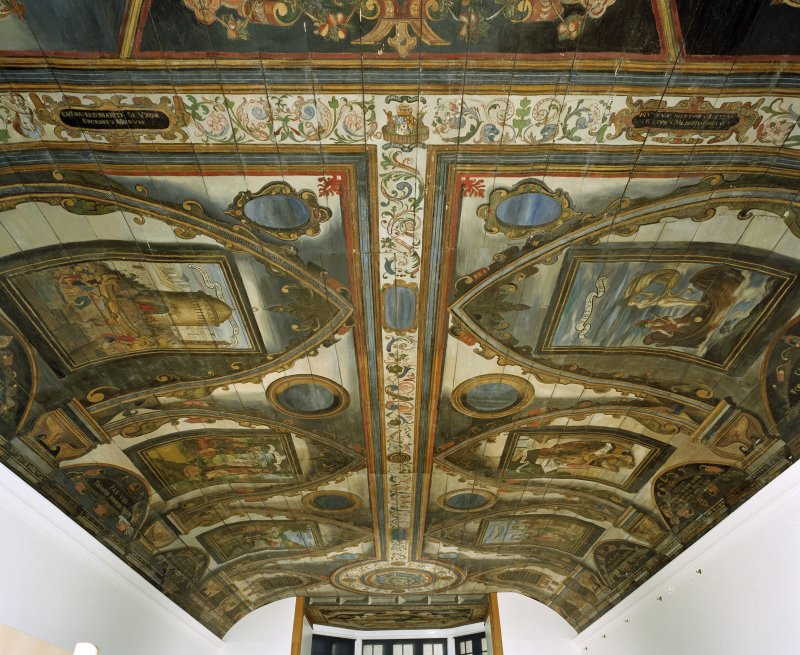 Interior. Painted gallery, view of ceiling showing painted panels at south end from north.