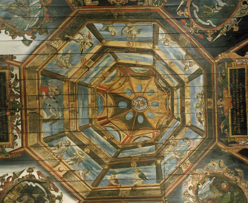 Interior. Painted gallery, plan view of painted central cupola.