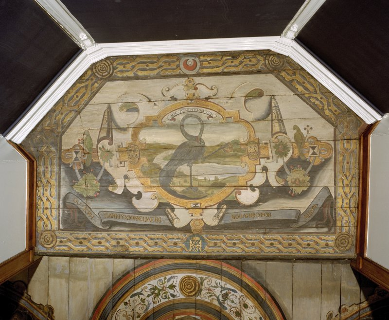 Interior. Painted gallery, plan view of painted ceiling above bay window at south end.