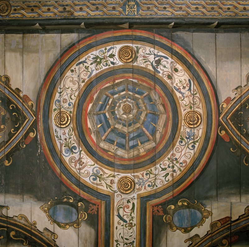 Interior. Painted gallery, plan view of painted cupola at south end.