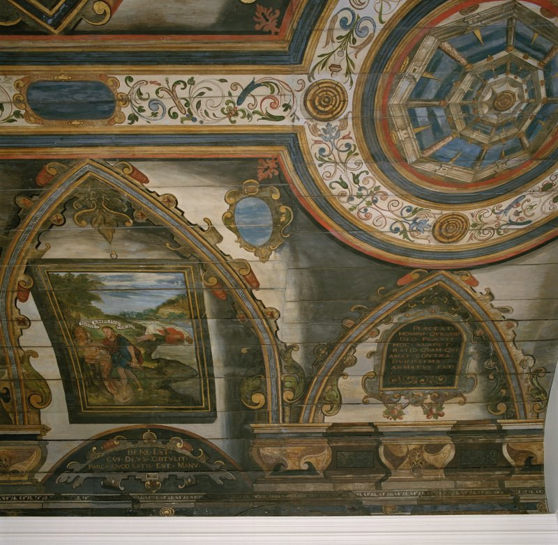 Interior. Painted gallery, detail of painted panels.
