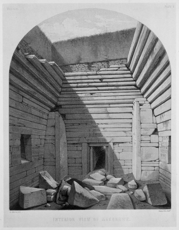 Photographic copy of drawing showing an interior view of Maes Howe.