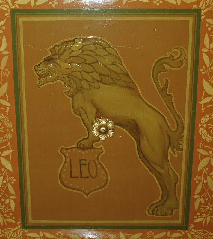 Detail of 1st floor Zodiac room ceiling. Carnegie Lodge, Montrose.