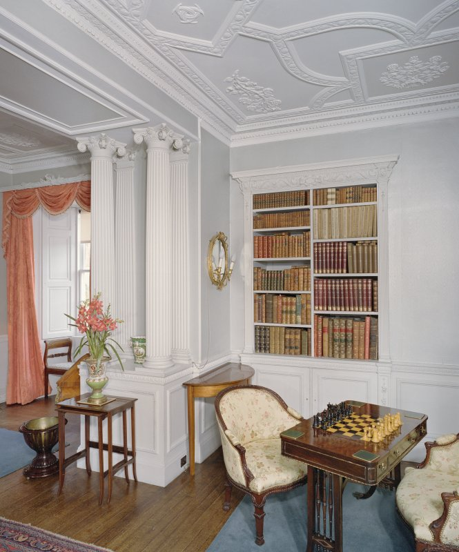 Interior. 1st floor. Drawing room. E Side. Bookcases and columns. Detail