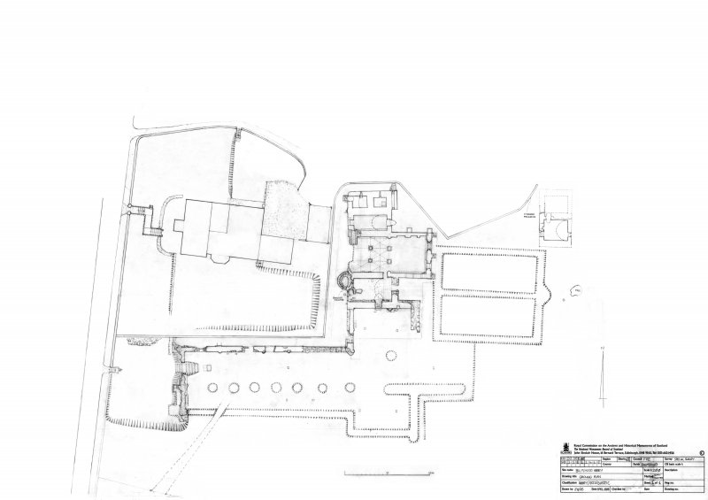 Scan of pencil drawing of the ground plan of Balmerino Abbey