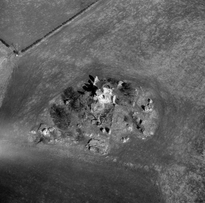 Oblqiue aerial view centred on Craigie Castle.