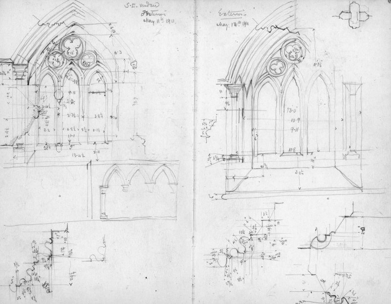 Field notebook: Kirkcudbright. Measured sketches of tracery.