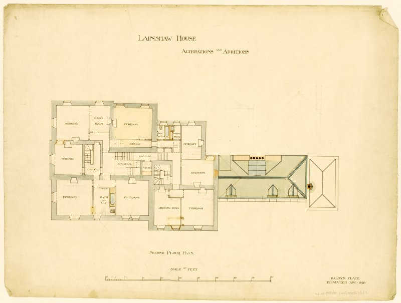 Photographic copy of drawing showing second floor plan with alterations and additions.