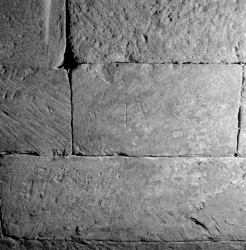 Interior. Detail of stonework with mason's mark.