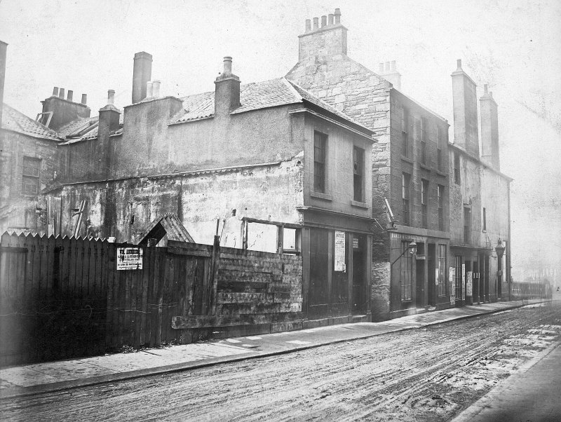 General view of houses at junction between North College Street and Hastie's Close By Archibald Burns 1871 from the W and R Chalmers Collection
