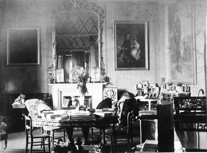 Interior. Modern copy of historic photograph showing general view of Drawing Room.