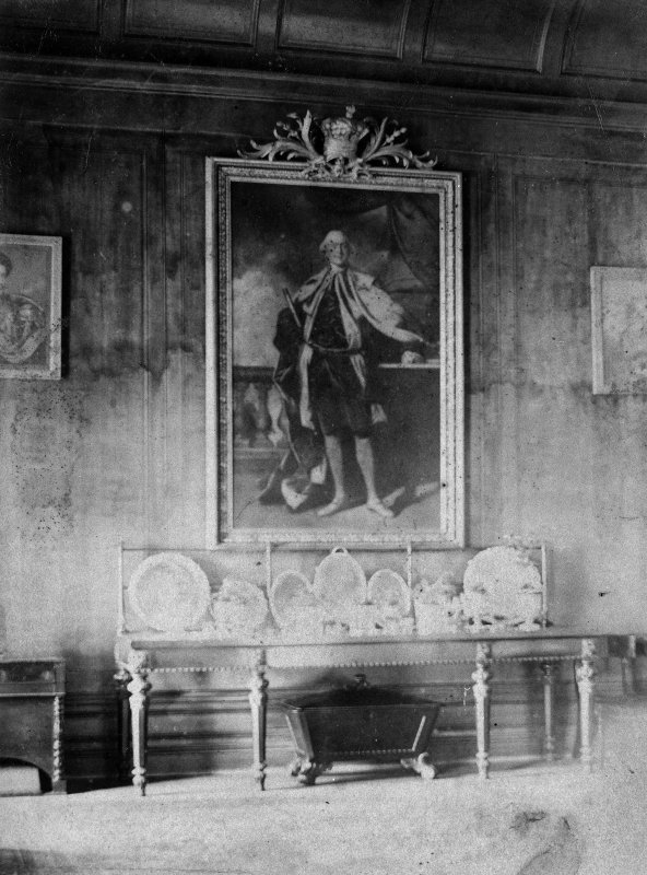 Interior. Modern copy of historic photograph showing view of painting in Dining Room.