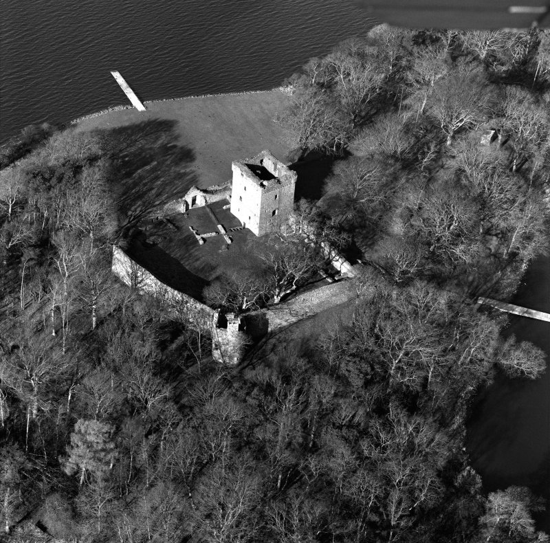 Oblique aerial view of Lochleven Castle.