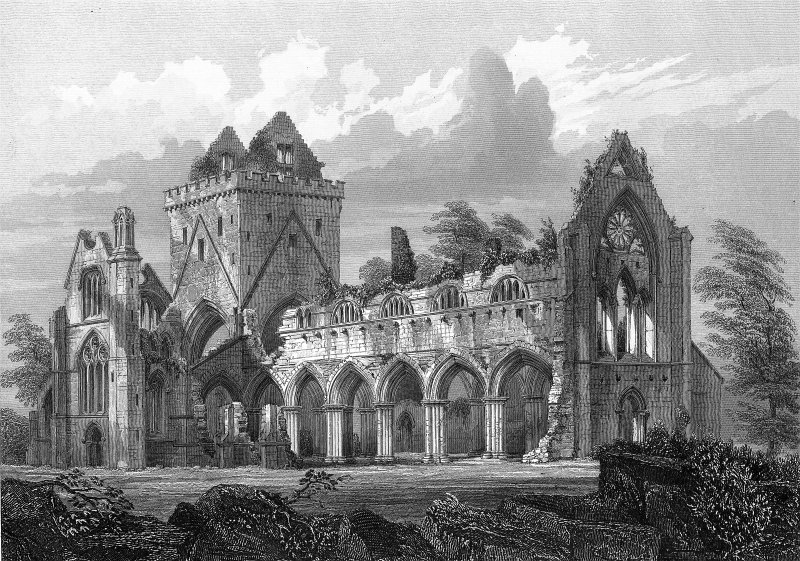 "View from NW. Engraving inscribed ""New Abbey - N.W. view. Drawn by R. W. Billings. Engraved by J. H. Le Keux. Edinburgh, published by William Blackwood & Sons."""