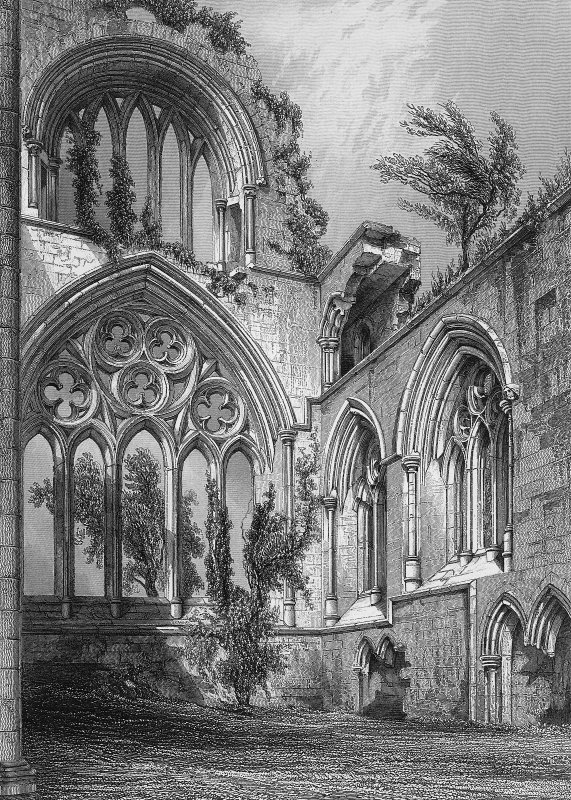 "Interior view of E window. Engraving inscribed ""East end of New Abbey. Drawn by R. W. Billings. Engraved by J. H. Le Keux. Edinburgh, published by William Blackwood & Sons."""