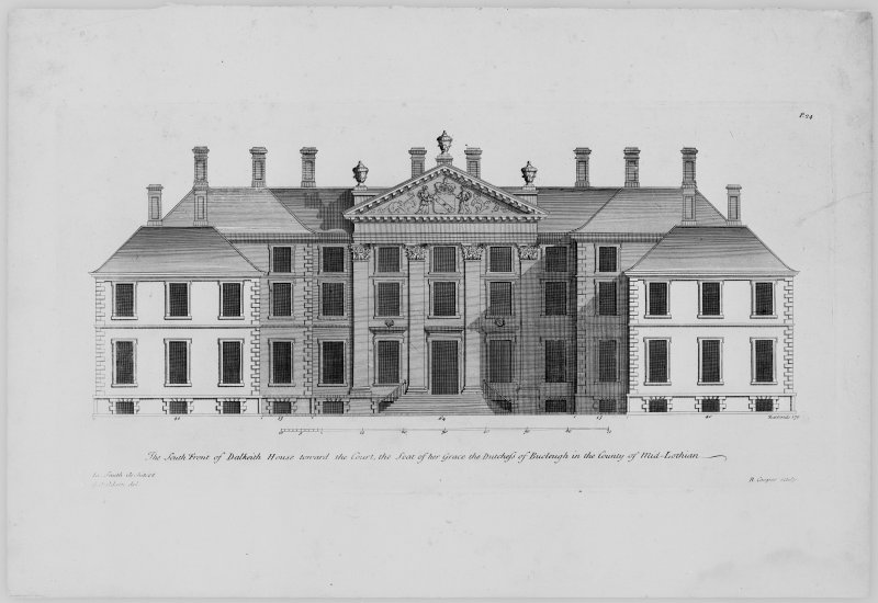 Photographic copy of drawing showing elevation of entrance front.