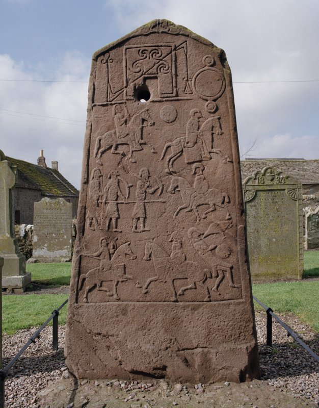 View of reverse of slab, showing battle-scene.