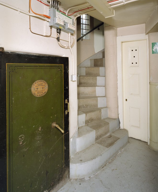 Interior. View of spiral stair and safe door